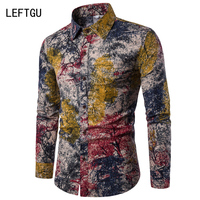 HOT 2017 Fashion Long Sleeve Men S Shirts Casual Random Patchwork Print Linen Shirt Men Brand