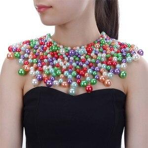 Image 2 - 10 색상 chunky 성명 목걸이 여성 목걸이에 대 한 턱 받이 목걸이 초커 수 제 파란색 된 목걸이 결혼식 파티에 대 한 맥시 보석