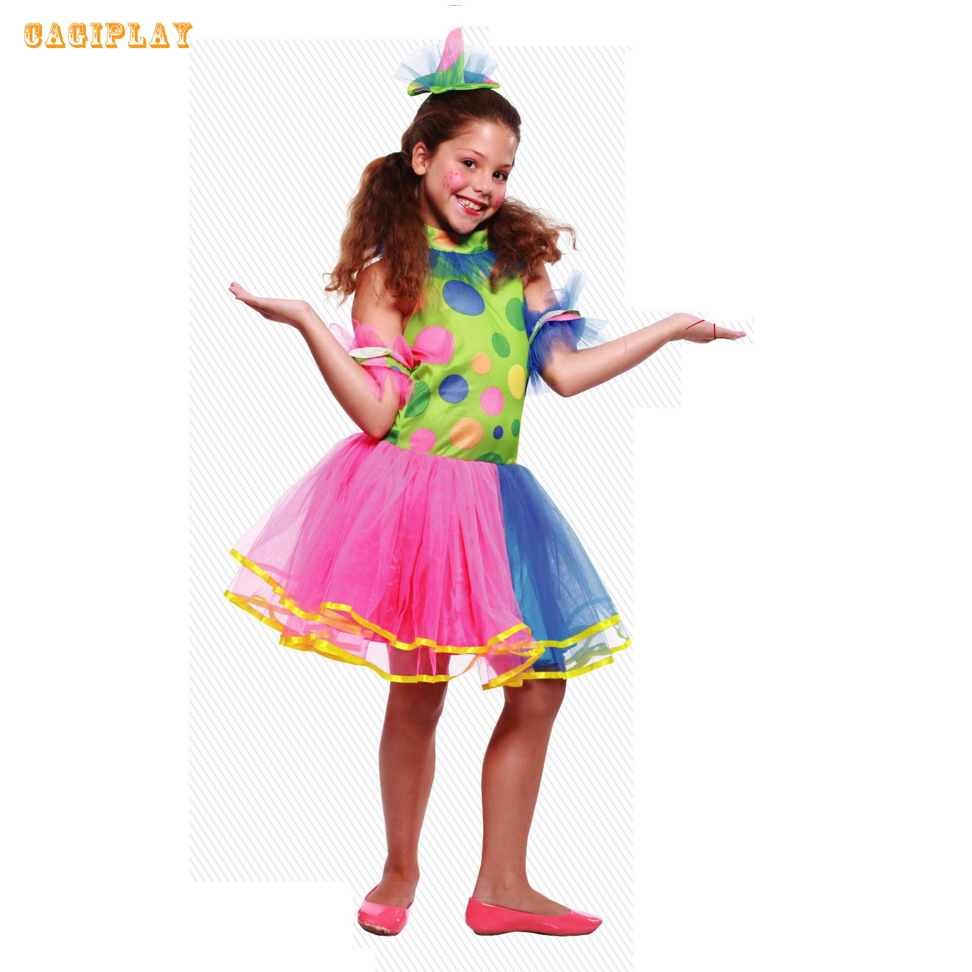2018 New Kids Carnival Clothing Girls Circus Clown Cosplay Princess Dress Party Vestidos Halloween Role Play Costume Age 3-10