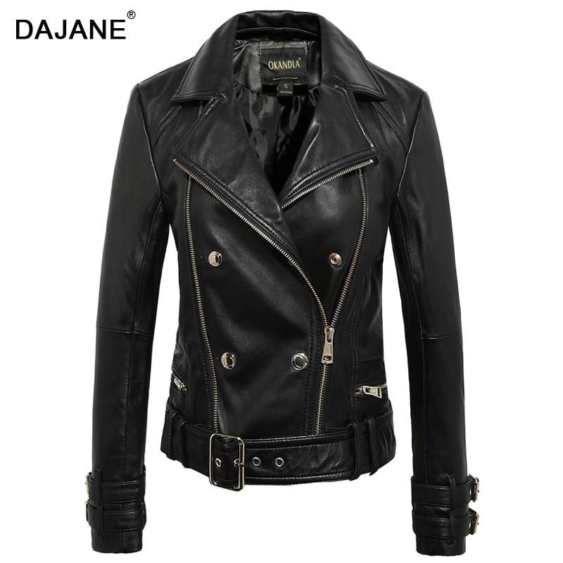 DAJANE veste en cuir de mouton filles veste en cuir noir dames saveur veste de moto en cuir femmes