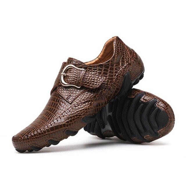 mejores zapatillas de deporte 3521c 49329 Zapatos de vestir para hombre mocasines zapatos planos cuero cocodrilo  hebilla Slip On Oxford hombres marca
