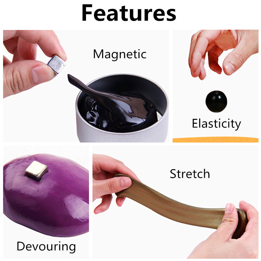 Diy Magnetic Slime Polymer Clay Intelligent Rubber Magnet Plasticine Mud Magic Hand Elasticity Bounce Slime Toys Kids Gift Putty