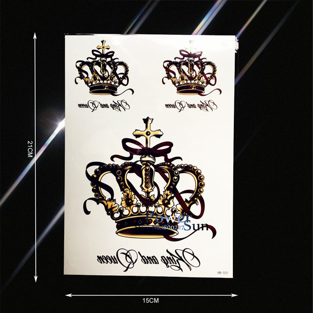 Beauty Waterproof Large King Queen Crown Tattoo For Women Makeup Fake Jewelry Tatoo Body Art Temporary Tattoo Stickers PHB-031