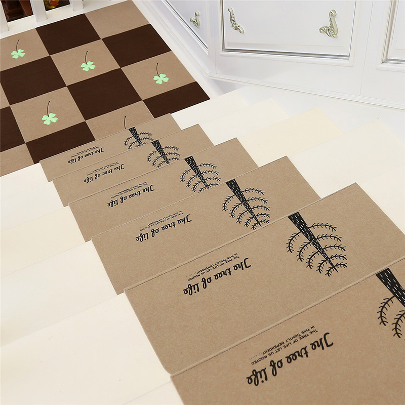 5pcs/set Self-adhesive Non-slip Floor Stair Carpets High Quality Staircase Treads Protector Mat Fit for 22cm Width Stair