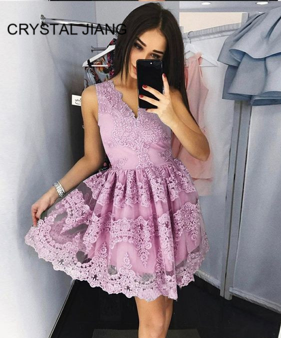 New Fashion 2019   Cocktail     Dress   Sexy V Neck Lace Applique Custom made Above Knee vestido   cocktail   Party Gown