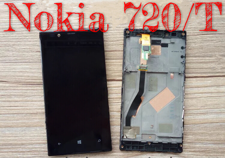 For nokia 720T touch LCD Lumia720 assembly N720 screen mobile phone assembly 720 screen assembly bracket box