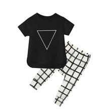 Popular Design Triangle Short Sleeve T-shirt+Grid Pant Toddler Girls Boys Clothing Set Kids 0-2Y Clothes Suit Ropa