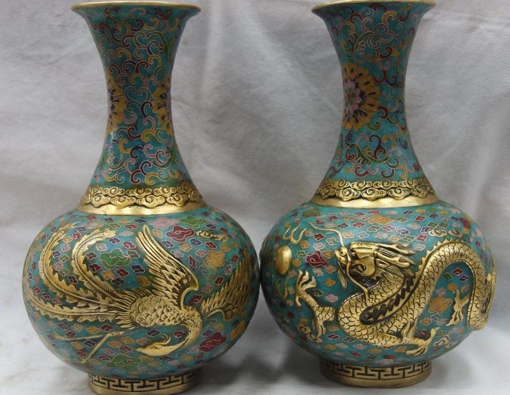 China Palace Bronze Copper Cloisonne Dragon Phoenix Pot Flask Bottle Vase Pair 8.02 chinese palace pure bronze copper auspicious dragon phoenix pot bottle vase pair