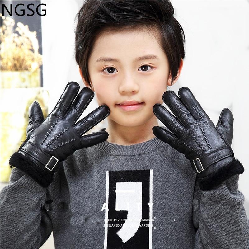Winter Children Bicycle Gloves Mittens Boys Outdoor Grey Kids Snow Genuine Leather Sheepskin Gloves Girls Red Wool Fur Gloves