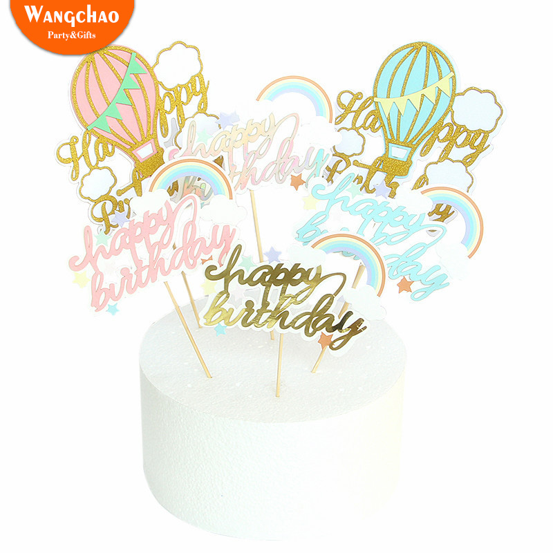 Happy Birthday Cupcake Toppers Cloud Party Decoration Cake Topper Girl Baby Shower Girl Pink Party Decoration 2018 in Cake Decorating Supplies from Home Garden