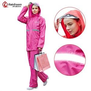 Image 2 - Rainfreemレインコートスーツ不浸透性女性/メンズフード付きオートバイポンチョS 6XLハイキング釣り雨具