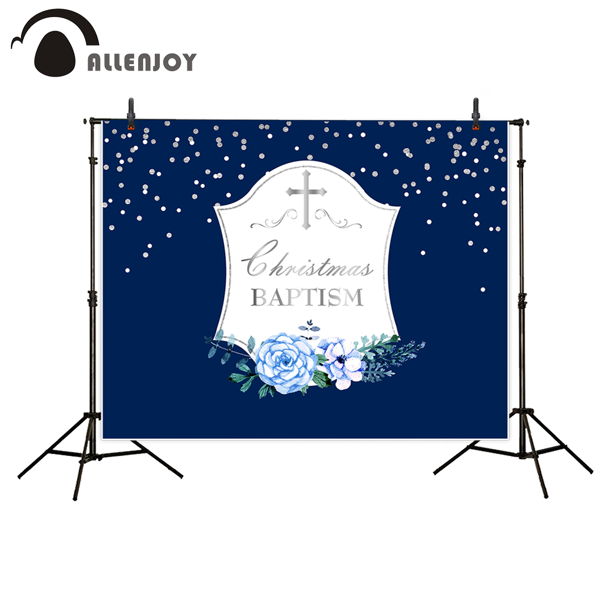 Allenjoy backgrounds for photo studio Blue Spotted Silver Cross Holy Communion Child backdrop new original design fantasy props allenjoy background for photo studio full moon spider black cat pumpkin halloween backdrop newborn original design fantasy props