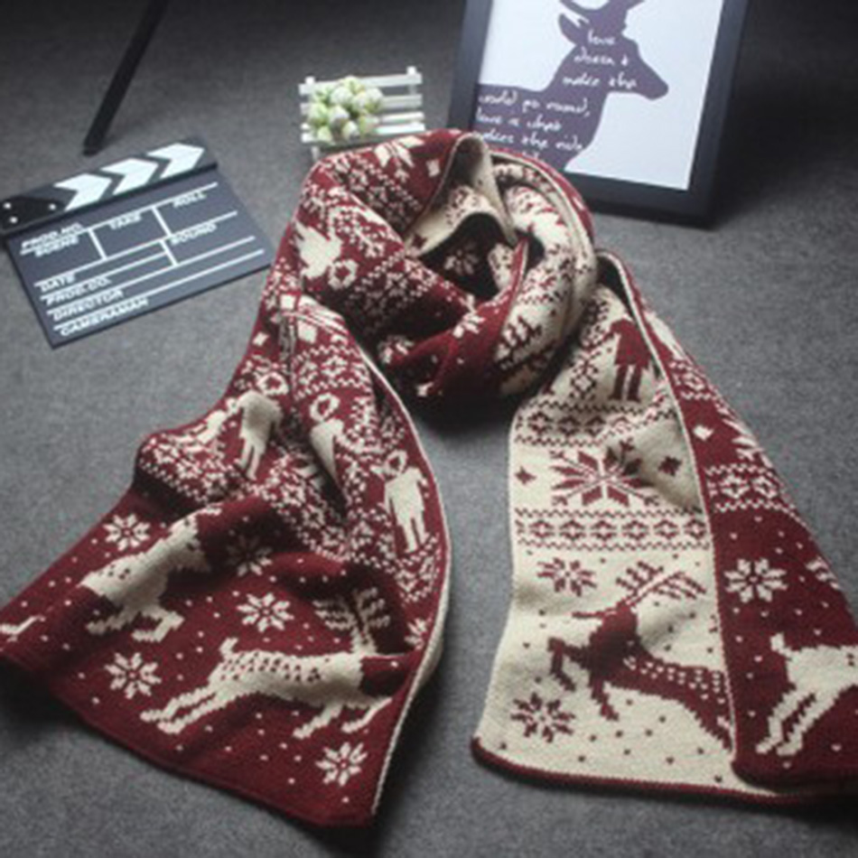 2017 women new double sided thick warm autumn and winter snowflake deer Christmas love knitting scarves Couple paragraph fashion-in Scarves from ...