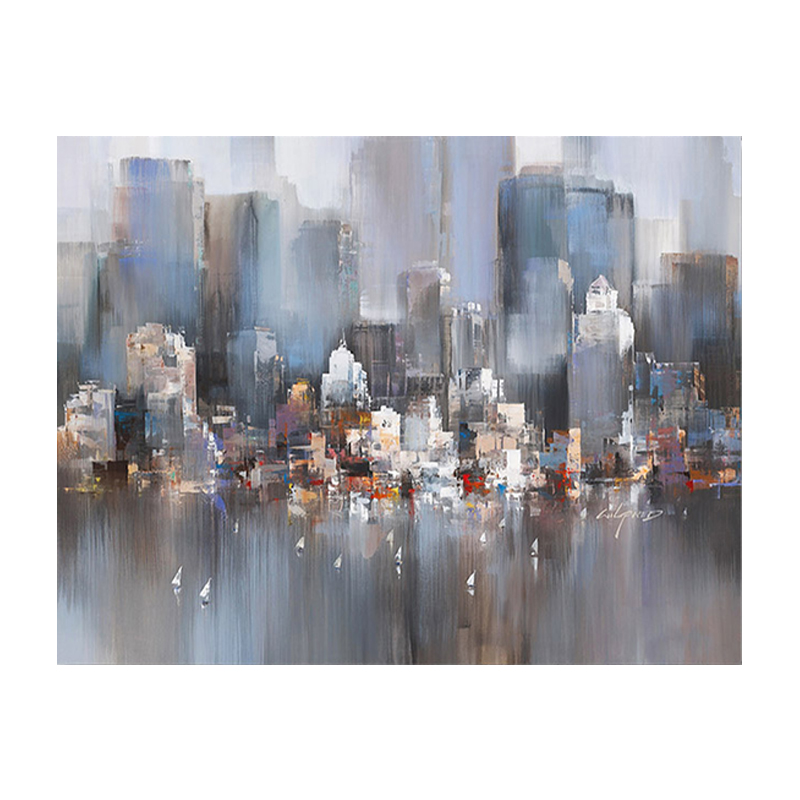 100 Hand Painted Abstract Modern City Buildings Art Oil Painting On Canvas Wall Art Wall Painting For Live Room Home Decoration in Painting Calligraphy from Home Garden