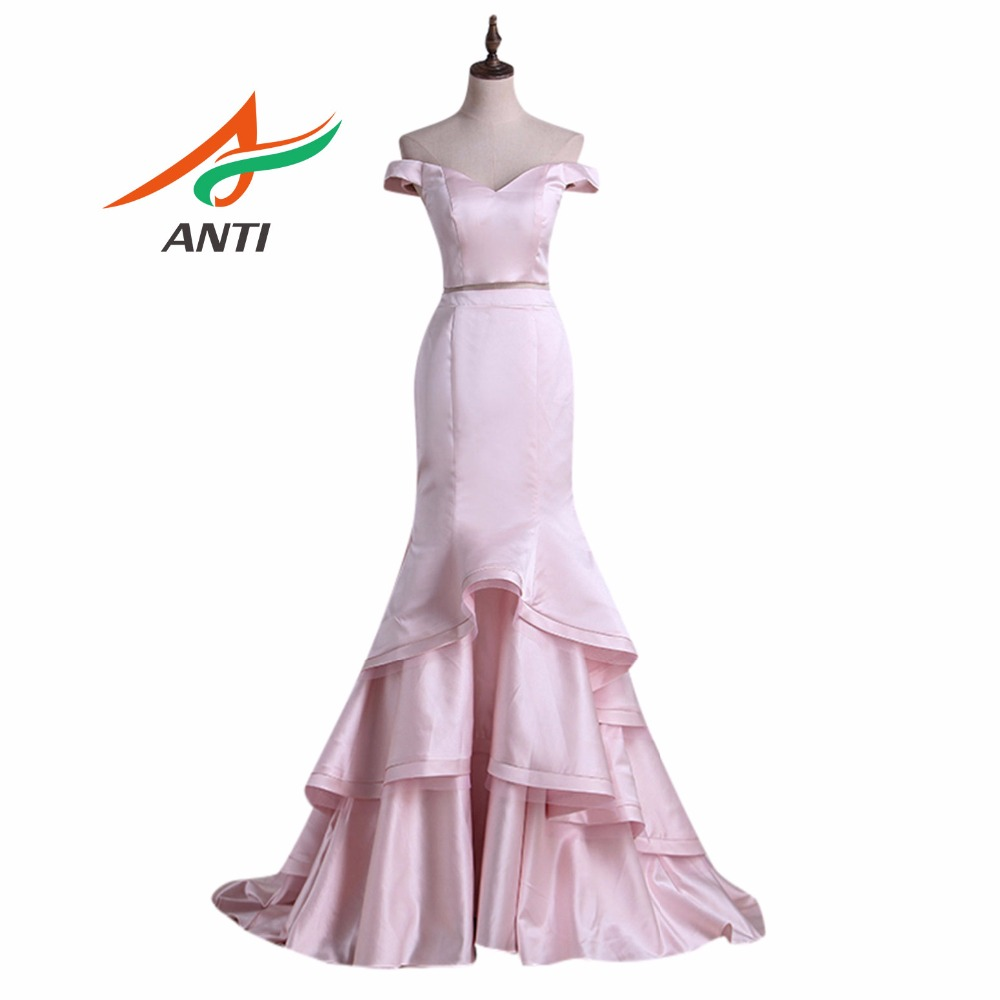 Celebrity Wedding Dresses 2019: ANTI 2 Piece Set Pink Evening Dress Long 2019 Sleeveless V