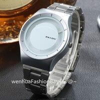 Turntable Dial PAIDU Stainless Steel Band Wrist Fashion Analog Wrist Watch Men Women Gift Black Silver