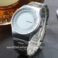 Turntable Dial PAIDU Stainless Steel Band Wrist Fashion Analog Wrist Watch Men Women Gift Black Silver Band Watch