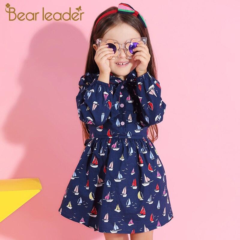 Bär Führer Schöne Mädchen Kleid Bluse Volle Segelboot Drucken Segel Kinder Kleidung Kleid Mit schärpen Für 3-7 Jahre