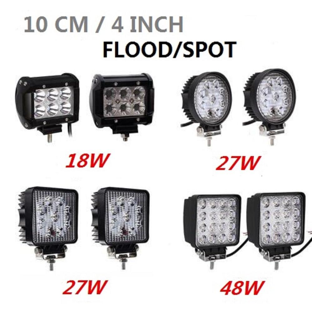 4 pulgadas 10 cm 18 W 27 W 48 W todoterreno coche 4WD camión Tractor barco remolque 4x4 SUV ATV 12 V 24 V Punto de inundación LED Barra de luz LED luz de trabajo