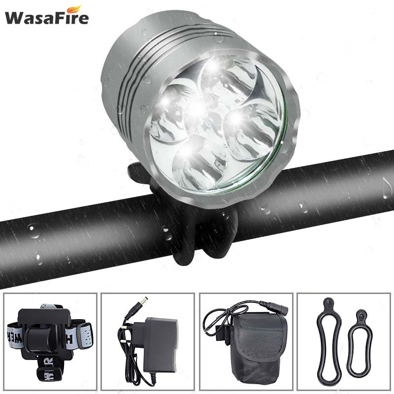 WasaFire Lantern XM-L 5*T6 LED <font><b>Bicycle</b></font> <font><b>Light</b></font> Headlight <font><b>7000</b></font> <font><b>Lumen</b></font> LED Bike <font><b>Light</b></font> Lamp Headlamp Cycling <font><b>lights</b></font> bike accessories image