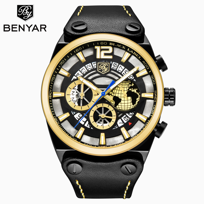 BENYAR Mens Watch Gold / Casual / Business / Military / Sports / Watch Top Luxury Quartz Watch Leather Clock Relogio Masculino BENYAR Mens Watch Gold / Casual / Business / Military / Sports / Watch Top Luxury Quartz Watch Leather Clock Relogio Masculino