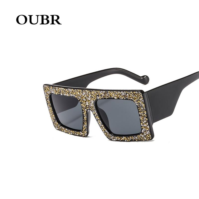 OUBR Trend brand design small box square sunglasses ladies rhinestone decoration craft casual fashion UV400 glasses