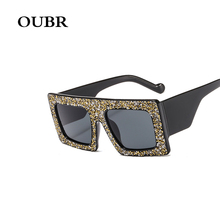 OUBR Trend brand design small box square sunglasses ladies rhinestone decoration craft casual fashion UV400 glasses