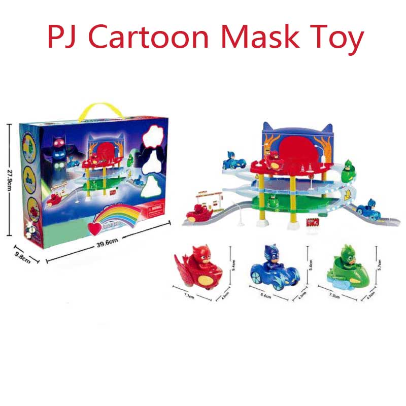 PJ Cartoon Mask 3 Floor Parking Lot Toy Les Pyjamasque Connor Greg Amay Track Jouet Action Figure Model Jouet Kids Christmas Toy new children assembled tire track parking lot toy model anime action figure juguetes kids toys 2 alloy car christmas gifts