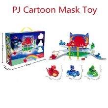 ФОТО pj cartoon mask 3 floor parking lot toy les pyjamasque connor greg amay track jouet action figure model jouet kids christmas toy
