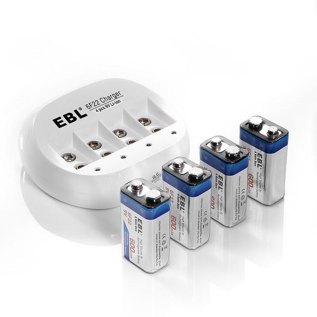 4 unids/lote EBL 600 mAh 9 v 6F22 Batería Recargable de Litio-ion Baterías Li-ion + Cargador de Batería 6F22 envío gratis