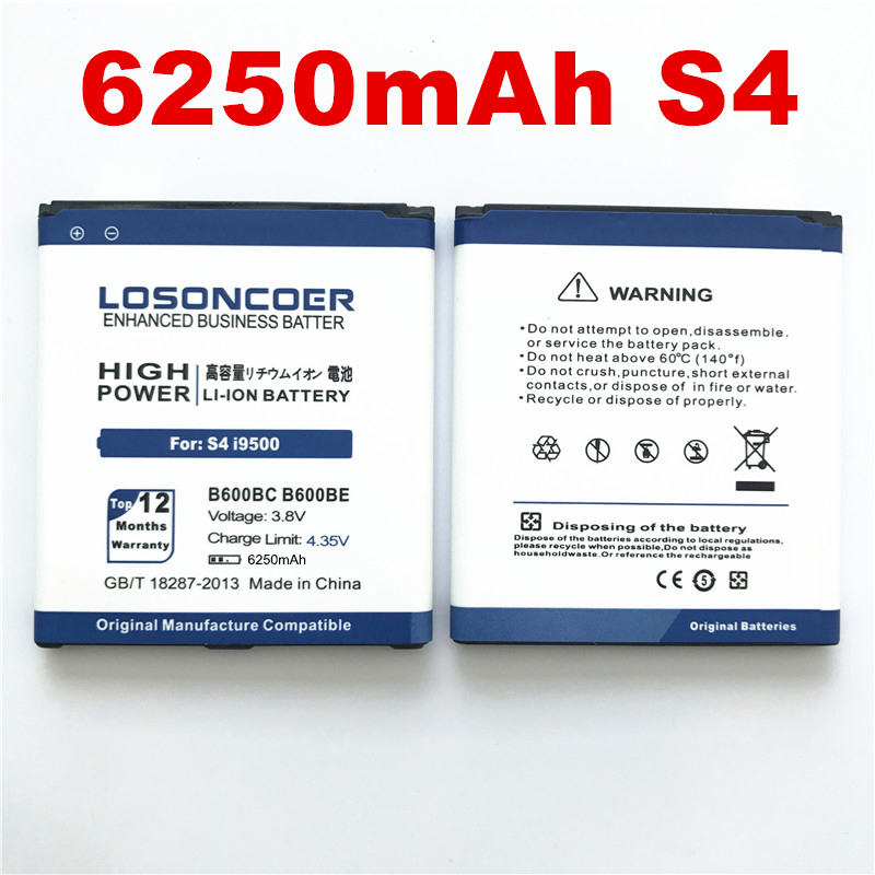 LOSONCOER I9500 Battery I9295 Samsung B600BC Galaxy S4 I9502 100%Original For I9502/I9295/Gt-i9505/..