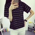 summer South Korean version of the new code all-match fashion ladies loose striped T-shirt short sleeved jacket Sequin