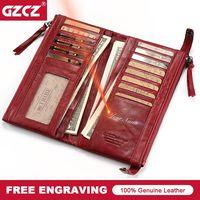 GZCZ Card Holder Women Wallet Female Genuine Leather Zipper Purse Portomonee Walet Lady Gift Long Handy Clutch Money Bag Perse