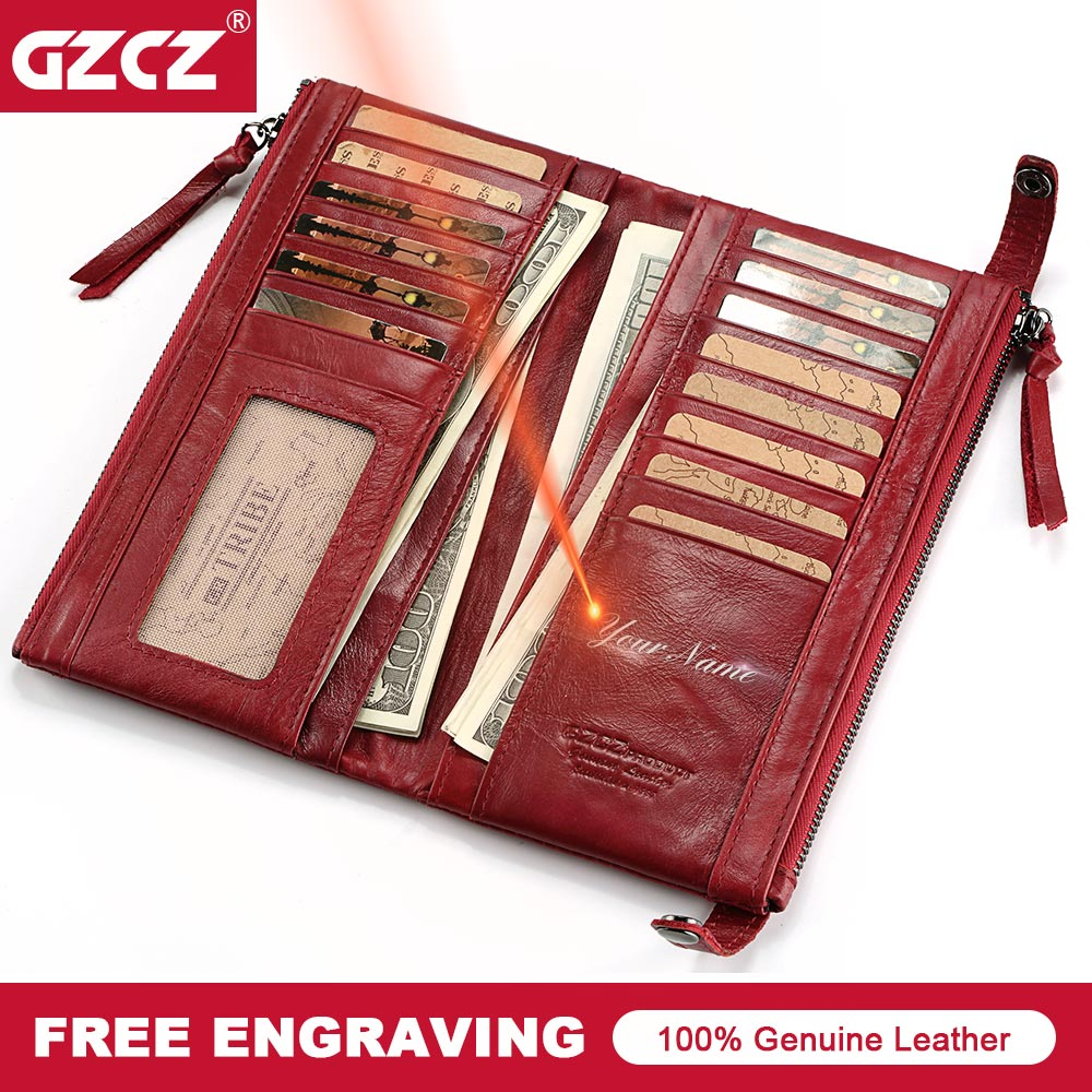 GZCZ Card Holder Women <font><b>Wallet</b></font> Female Genuine Leather Zipper Purse Portomonee Walet Lady Gift Long Handy Clutch Money <font><b>Bag</b></font> Perse