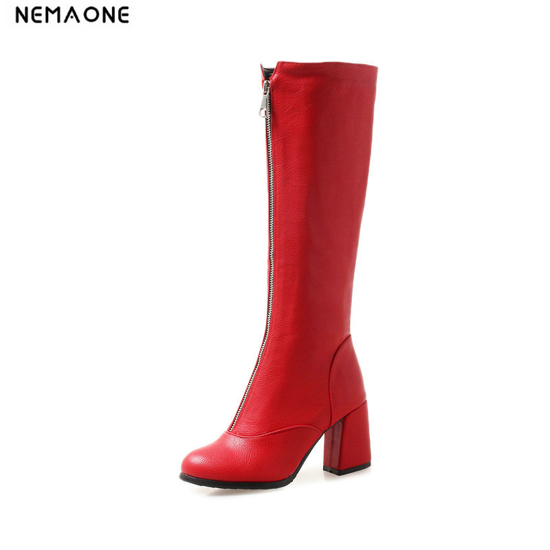 NEMAONE New high Heel knee high women boots zipper ladies shoes party dress wedding shoes woman large Size 43 black red whiteNEMAONE New high Heel knee high women boots zipper ladies shoes party dress wedding shoes woman large Size 43 black red white