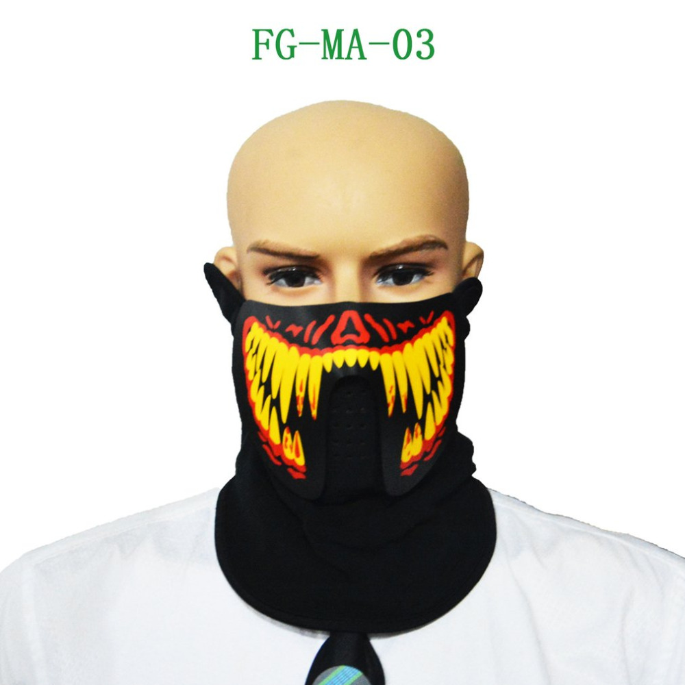 Sound Activated Mask LED Luminous Masquerade Mask Horror Terror Cold Light Mask Halloween Festival Party Costume Play Prop