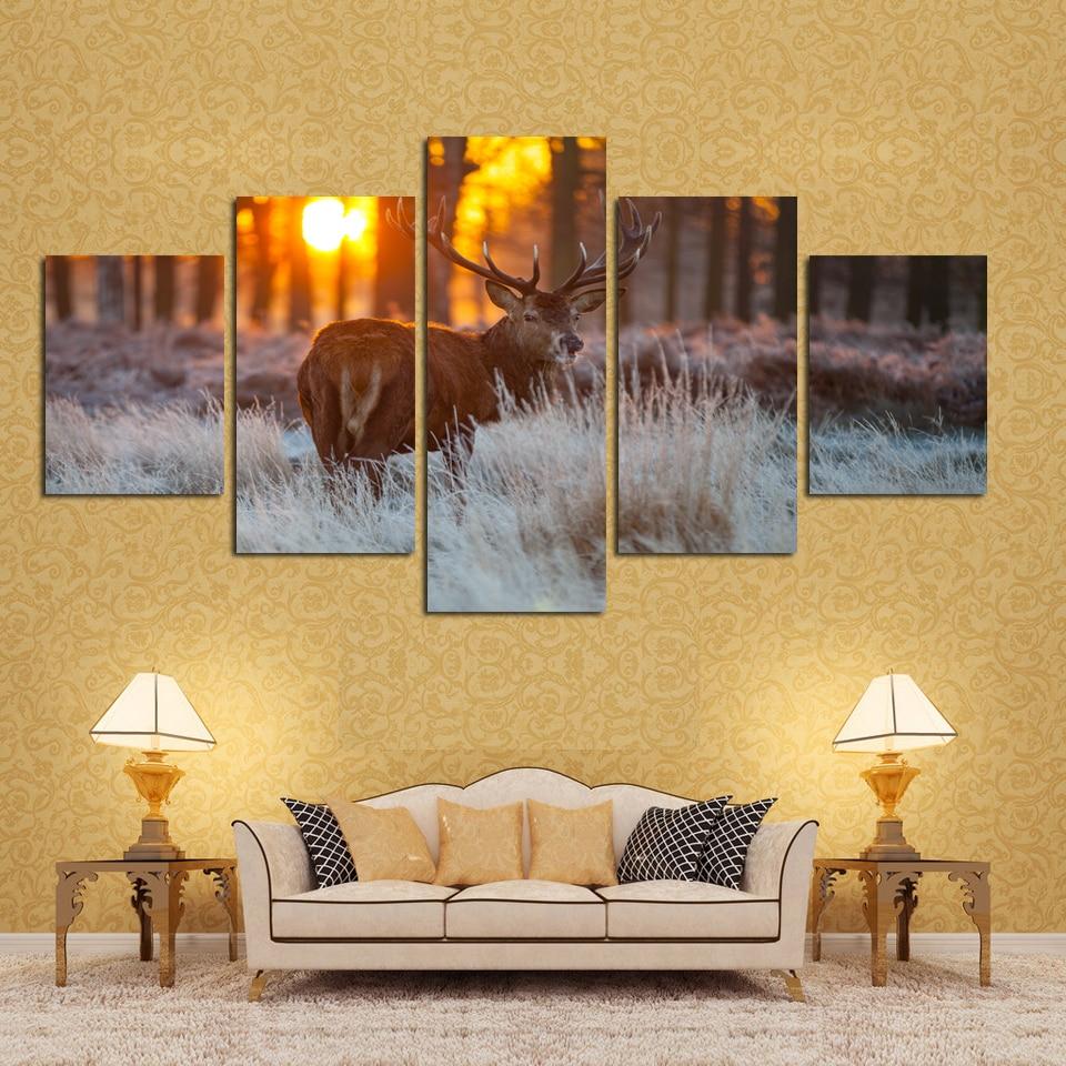 Drop Shipping 5 Piece Sunset Sheep Modern Home Wall Decor