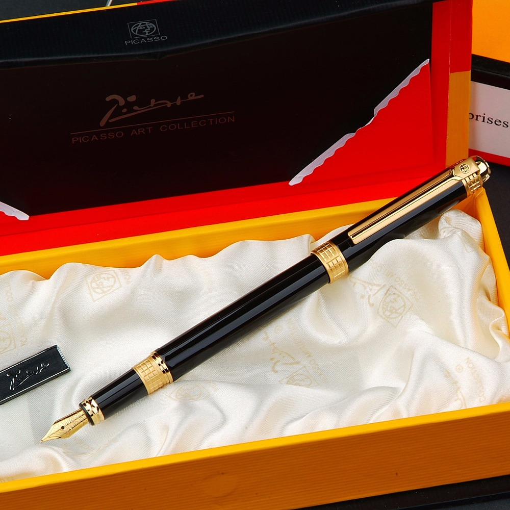 Picasso picasso ps-909 black gold fountain of spatiotemporal pen ink pen picas pen FREE shipping original picasso fountain pen ps 927 silver fountain pen high grade teacher leader gift white oracle green free shipping