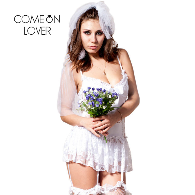 Comeonlover Ropa Interior Mujer Sexy Erotica Exotic Apparel Bride Wedding Costumes Plus Size  Lace Bride Lingerie CI88058