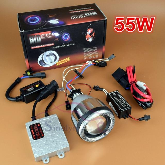 Motorcycle accessories Headlight 55W AC HID Bi xenon Projector Lens Lamp Full Kit with CCFL Angel Eye Halo Devil Demon Eyes