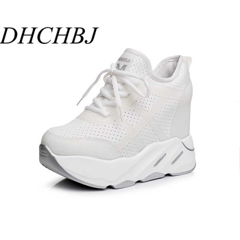 2019 New Summer Platform Women Shoes Breathable Mesh Sneakers Wedge Heels White Casual Shoes Lace up 12 CM High Heels Sandals image