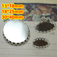 13 18mm 18 25mm 30 40mm 100pcs Silver Plated OVAL Blank Pendant Trays Bases Cameo Cabochon