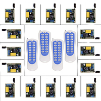 Mini Size 220V 1CH 1CH 10A Wireless Remote Control Switch Relay 16 X Receiver 4 X