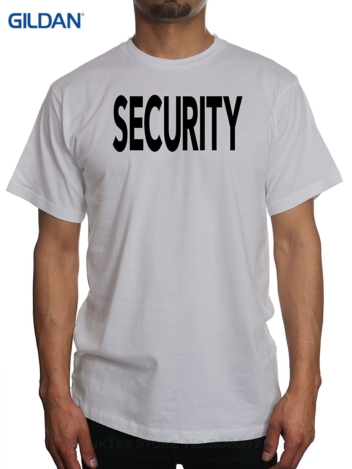 Black t shirt security - Gildan 100 Cotton T Shirts Brand Clothing Tops Tees Men S Security Bouncer Event Black T