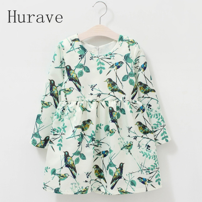 Hurave new arrival casual baby girls dress autumn print bird dress kids girls clothes floral vestidos