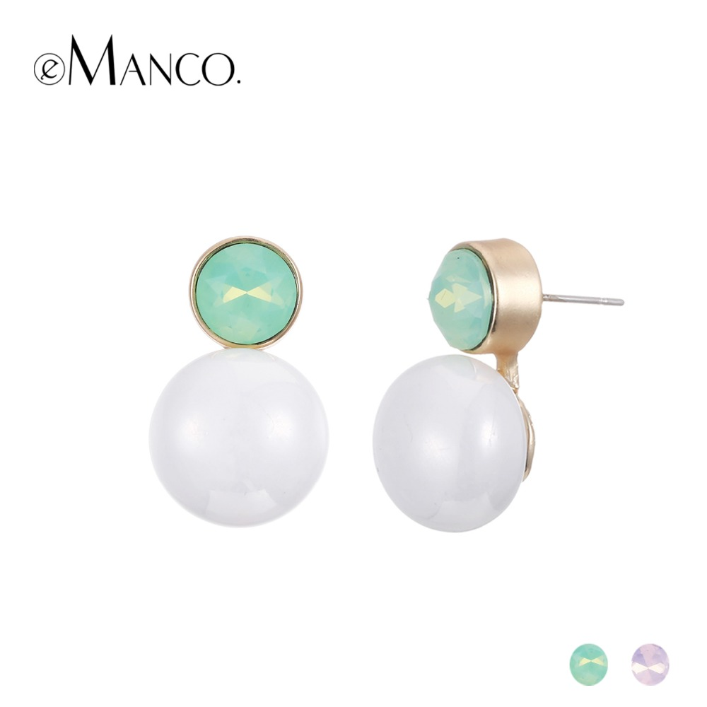 eManco Wholesale Charming Trendy Minimalist Piercing Stud Earrings for women Resin Beads Green&Pink Crystal Earring Jewelry 2017
