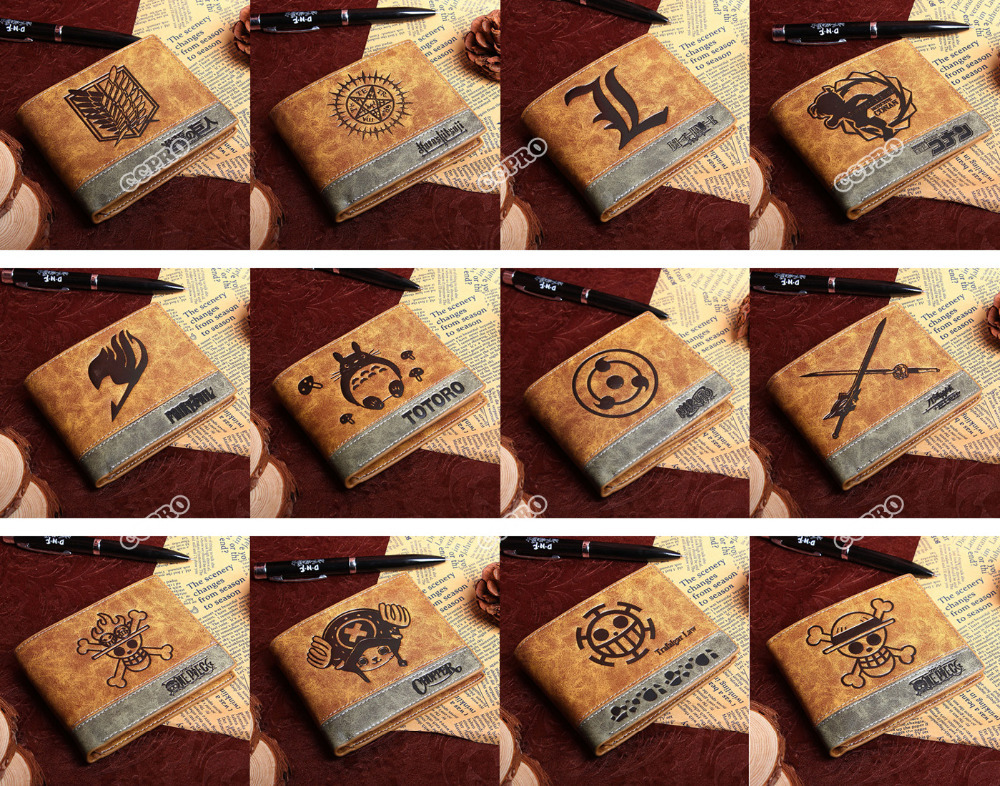 PU wallet of Anime Black Butler/ Death Note/Fairy Tail/ Naruto/One Piece Law ETC japanese anime poke death note attack on titan one piece game ow short wallet with coin pocket zipper poucht billetera