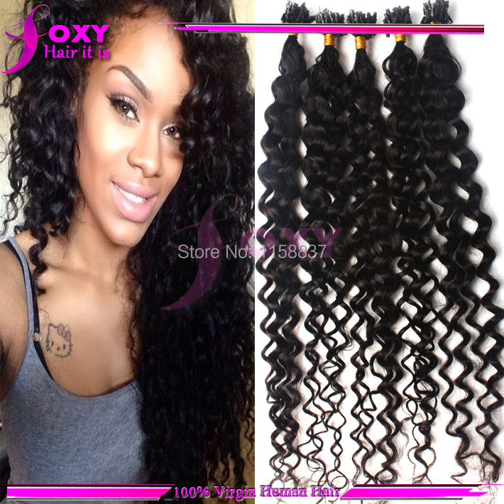 Free Ship Virgin Curly Micro Ring Hair Extensions 18202224100