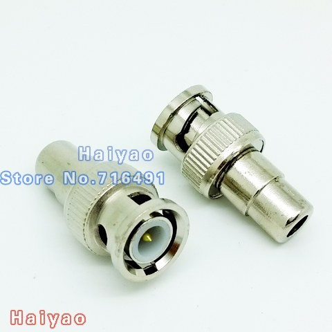 100pcs BNC Male to RCA Female Coax Cable Connector Adapter F/M  plug Coupler for CCTV Camera 10pcs bnc male to rca female coax cable connector adapter fm coupler for cctv camera