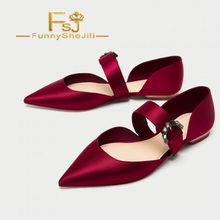 Women s Red Satin Mary Jane Shoes Pointy Toe Flats Ballet Shoes Spring  Summer Autumn Incomparable Generous FSJ Elegant Sexy 6603bbe08967